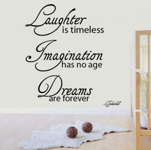 Tinkerbell Wall Sticker Quotes - Laughter Imagination Dreams Wall ...