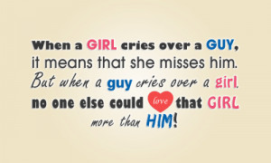 Love Quotes Pics • When a girl cries over a guy, it means that she ...