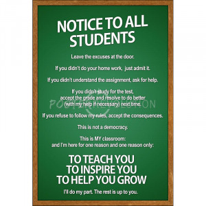 Notice to all Students Classroom Rules Poster - 13x19