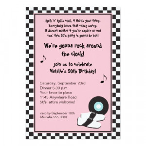 Rock & Roll 50's Birthday Invitation invitation
