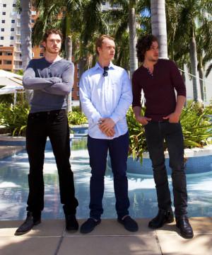 Richard Madden (Robb Stark), Alfie Allen (Theon Greyjoy), and Kit ...