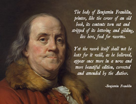 Benjamin Franklin God Quote Poster
