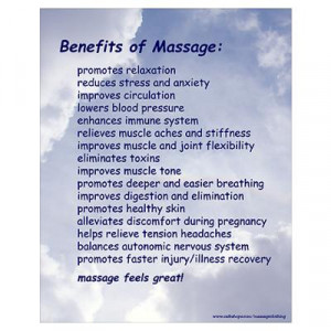 CafePress > Wall Art > Posters > Benefits Of Massage 16X20 Blue Poster