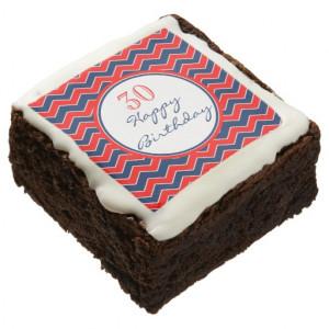 Happy Birthday Red White Blue Chevron Pattern Stri Square Brownie