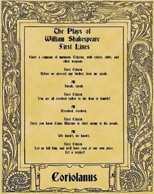 ... Parchment Poster Literary First Lines Shakespeare Troilus and Cressida