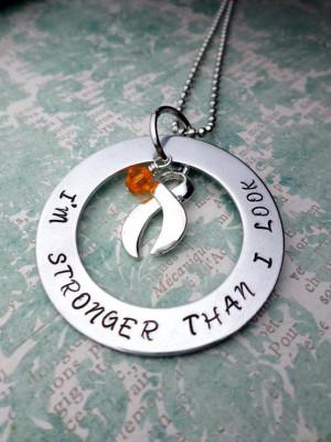 Orange Ribbon Necklace, Leukemia Awareness, MS Awareness, Self Injury ...