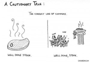cautionary comma tale from ChainBear.com. Don't praise steaks ...