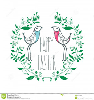 Happy Easter with floral decorative elements, swirls, birds, quotes ...