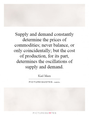 ... , determines the oscillations of supply and demand Picture Quote #1