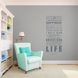 John Lennon Life and Happiness Quote - The Beatles - Wall Decal Custom ...