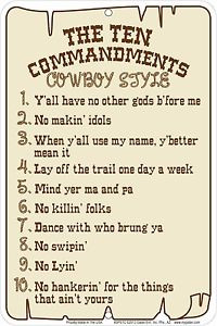 Western-Cabin-Lodge-Barn-Stable-Decor-COWBOYS-10-COMMANDMENTS-Metal ...