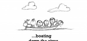 Happiness is, boating down the river with friends.