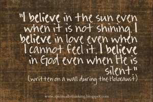 written on a wall during the holocaust~
