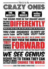 CRAZY ONES STEVE JOBS INSPIRATIONAL QUOTE POSTER / PRINT / PICTURE