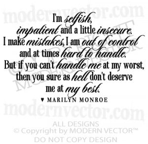 MARILYN MONROE Quote Vinyl Wall Decal I'M SELFISH Vinyl Sticker ...