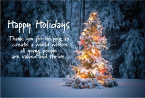 Happy Holidays Christmas Tree Thanks You Quotes Wallpaper Card