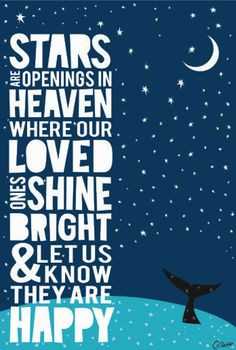 Stars are openings in heaven where our loved ones shine bright and let ...
