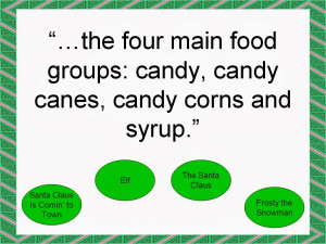 the four main food groups: candy, candy canes, candy corns and syrup