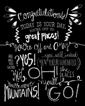 Dr. Seuss Oh the Places Youll Go 8x10 hand drawn graphic wall print ...