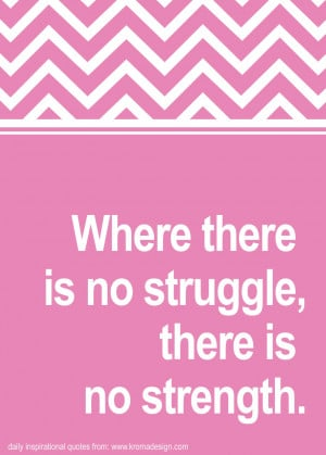 Where There Is No Struggle There Is No Strength - Inspirational Quote