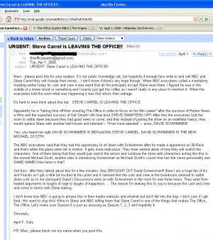 URGENT: Steve Carrel is LEAVING THE OFFICE!!