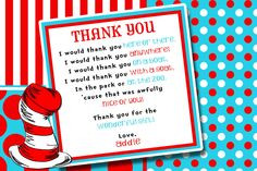 Dr Seuss Birthday Party Baby Shower Thank You Card x 2
