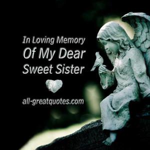 In Loving Memory Cards Sister