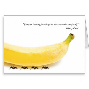 Team Work Inspirational Quote with Funny Banana Greeting Cards