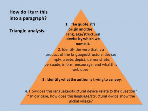 How do I turn this into a paragraph? Triangle analysis. 1.The quote ...