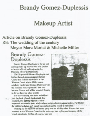 ... makeup artist of choice for Michelle Miller & Marc Morial wedding
