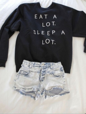 sweater eat alot sleep alot jumper black black , funny , quotes ...