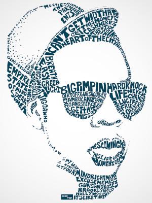 Typografie portretten gemaakt van song lyrics