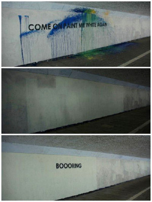 Funny photos funny white wall graffiti painting