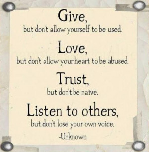 Give, Love, Trust, Listen to Others