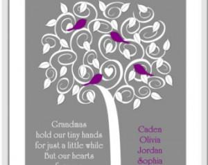 Grandma Tree of Love Grandma Quote Love Poem Birds Gray Purple Family ...