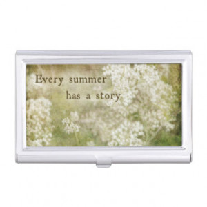 ... Summer Story Quote White Flowers Retro Business Card Holders
