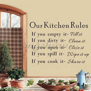 Our Kitchen Rules Wall Sticker Mural Home Decor Cook Words Quote Vinyl ...