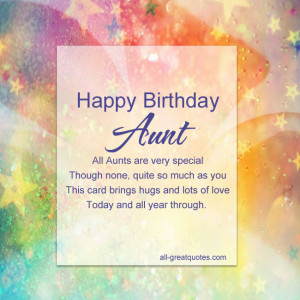 Happy Birthday Aunt All Aunts are very special