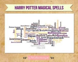 11x14 Magical Harry Potter Spells Print - Pick Your Color Scheme