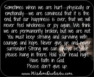 Are you hurt physically or emotionally?