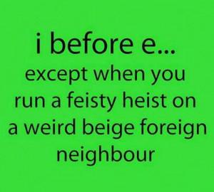 Before 'e'