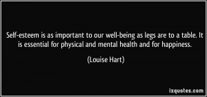 Self-esteem is as important to our well-being as legs are to a table ...