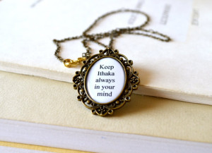 Ithaka quote necklace, literary, summer gift, holiday, Greek island ...