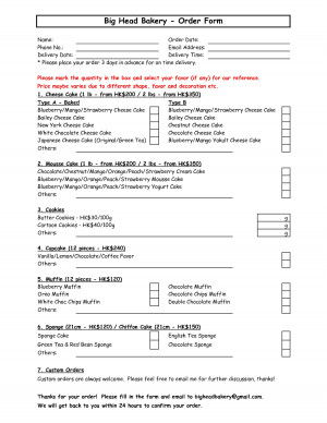 Bakery Order Form Excel picture