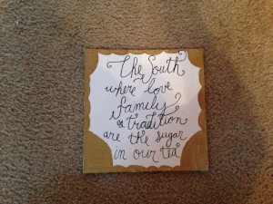 The South gold quote canvas