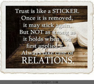 Trust is like a STICKER