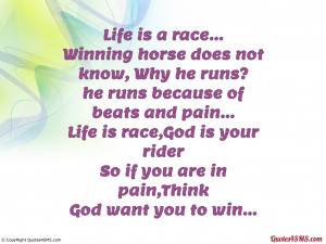 Winning horse does not know, Why he runs?...