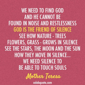 Mother Teresa Quote (About silence god)