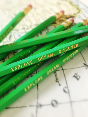 Explore. Dream. Discover. Green Pencils, pencil pack, travel gifts ...