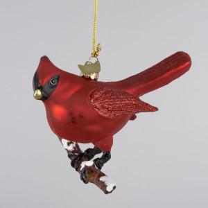 Red Glass Bird Christmas Ornament